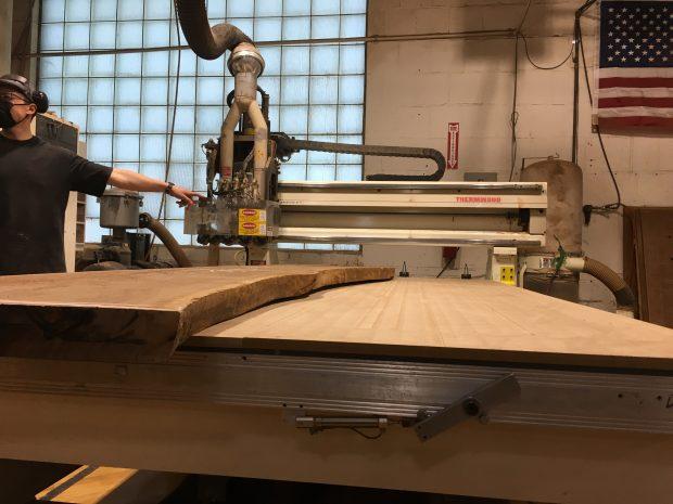 solid wood slab on CNC