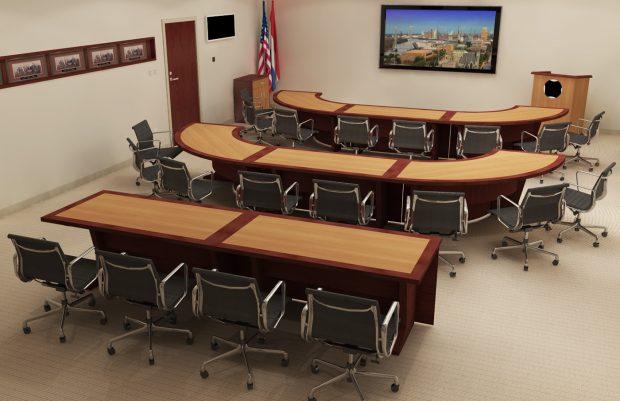 reconfigurable boardroom table