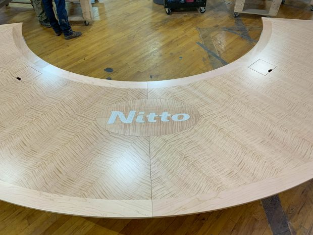 custom conference table with logo